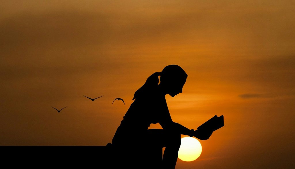 silouhette of a woman reading a book set against the a sunset
