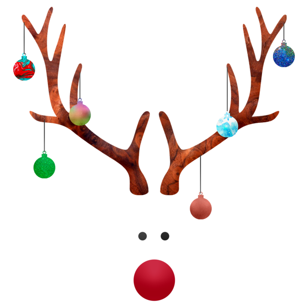 white space image of reindeer horns with ornaments hanging from it, two black eyes and a red nose. Do you know rudolph?