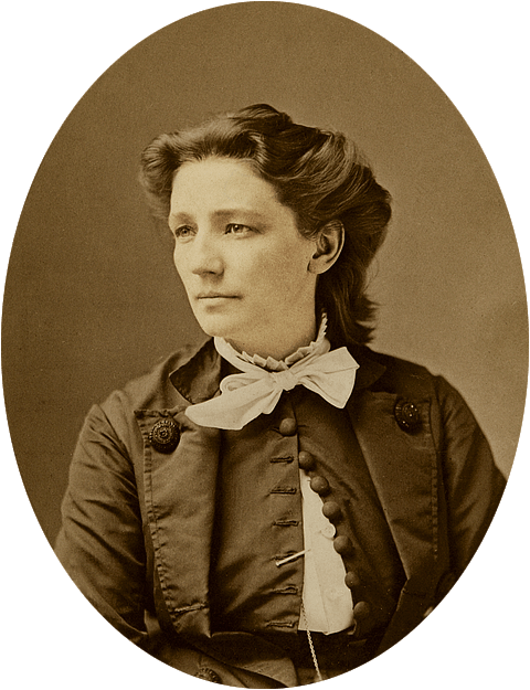 Oval portrait of Victoria Claflin Woodhull, the first female presidential candidate spent election day in jail