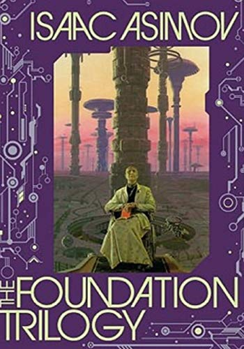 The cover for Isaac Asimov's The Foundation Trilogy shows saucer shaped futuristic or other worldly buildings on tall spindles. A man in robes sits before one of the spindles.