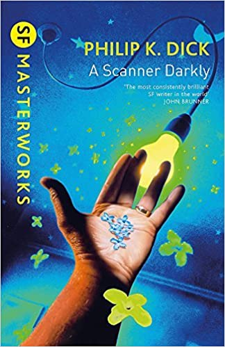 On A Scanner Darkly's cover is a palm-up hand holding some little blue pieces. In the background behind the fingers is a yellow, lit light bulb with a curing extension cord leading to a round wall outlet.