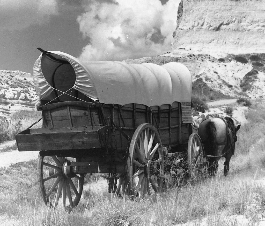 Image of a the back of conostoga wagon headed west. One of two horse can be seen pulling the wagon.
