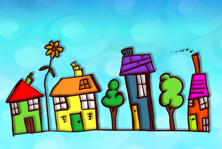colorful image of child-like drawings of houses and trees.