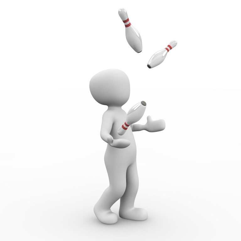 image of a white non-gendered figure juggling bowling pins.