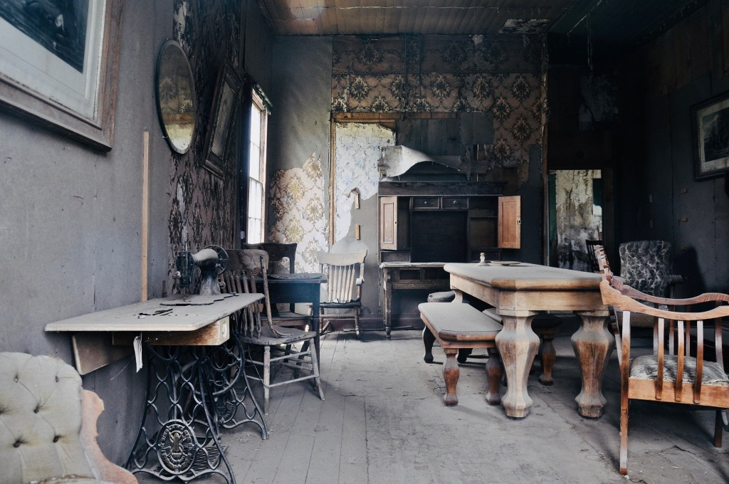 Photograph of the living room of an old, abandoned house--a pedal driven sewing machine, a dining table, and upholstered chairs are thick with dust--progress is invisible unless you track it--in this place, I think it might be visible.