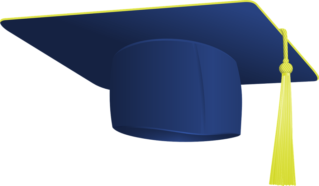 """Image of a royal blue mortar-board with yellow trim and yellow tassel representing Story Time Reviews """"Valedictorian"""""""