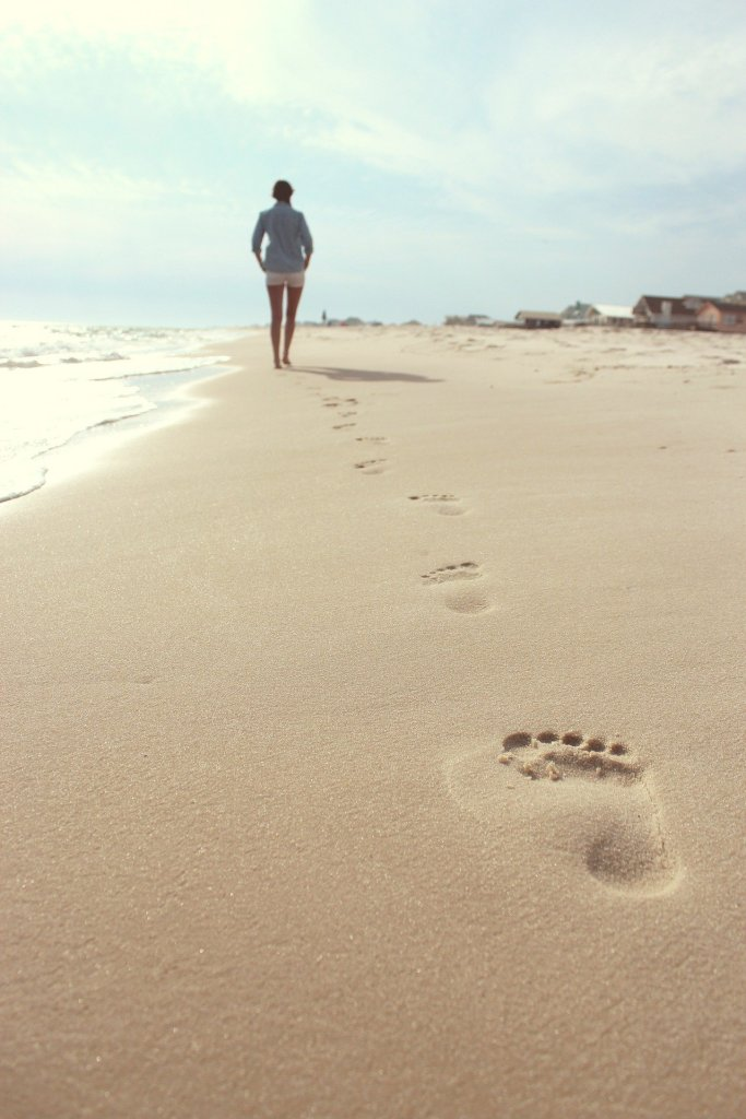 image of a sandy beach, footsteps in the sand lead to a woman in the distance. she walks alone in her true self