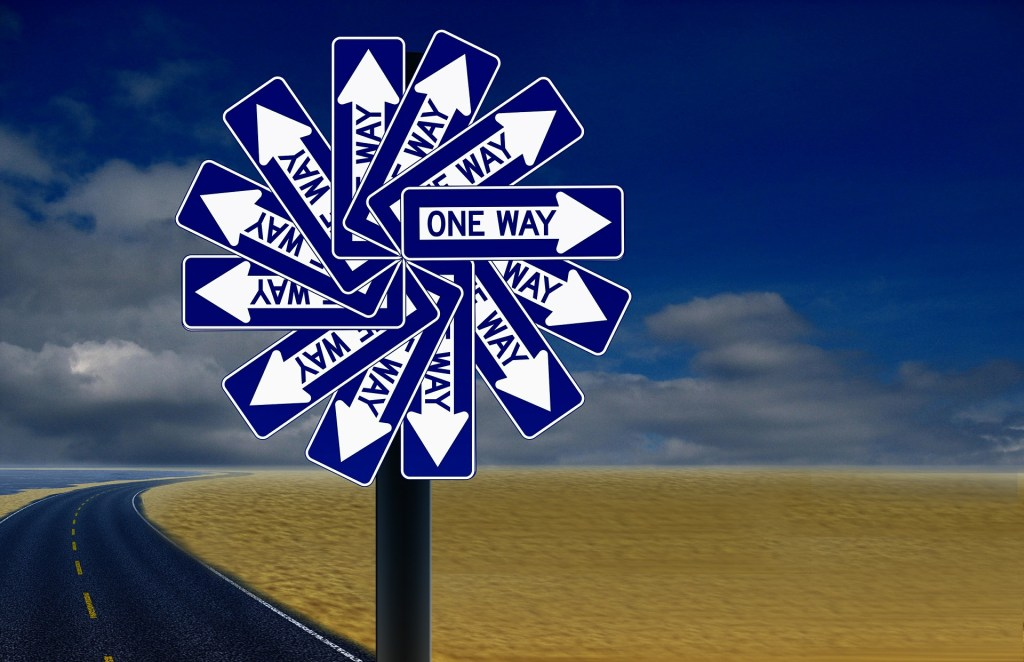 Image of one way signs fanned in a circle so they point every which direction. Following them I took one step back and two forward.
