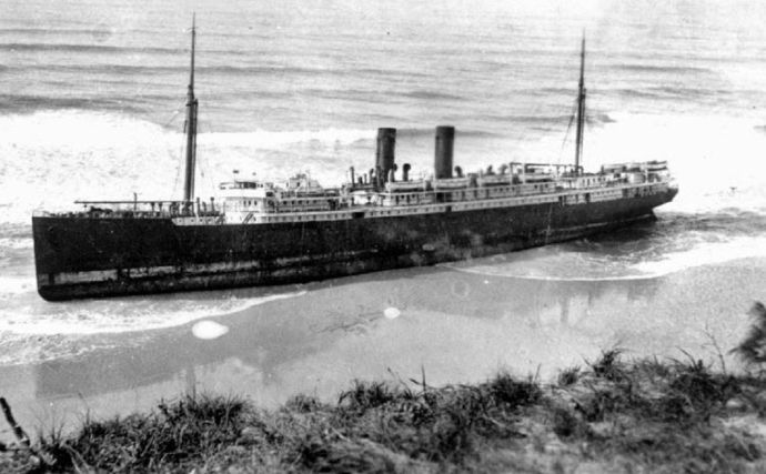 SS Meheno, which ran aground during a cyclone at Fraser Island in 1935