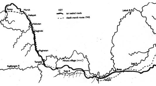 A plot of the route along the Taviu River, mapped by the war graves body recovery unit and an investigation team, showing the approximate position of the track in relation to the modern-day highway.