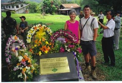 Lynette Silver with a trekker at Ranau, after the walk in 2005. Kan Yaw Chong is on the right.