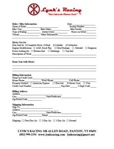Lynk's Racing Work Order Form