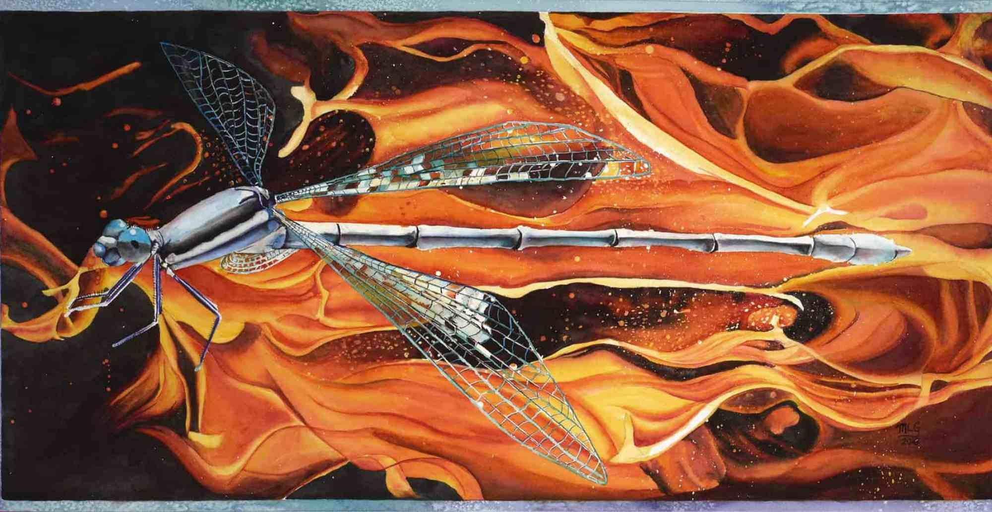 Portrait of a Dragonfly Surrounded by Fire by Michelle Goggans