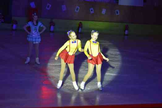 Adriana and Chonelle skating as Tweedledee and Tweedledee at a Southland show.