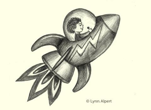 Sketch of boy in rocket by children's illustrator Lynn Alpert