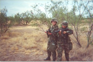 Valerie Desautel (left) and another soldier during field training in San Angelo, TX in 2000. Photo courtesy of Valerie Desautel.