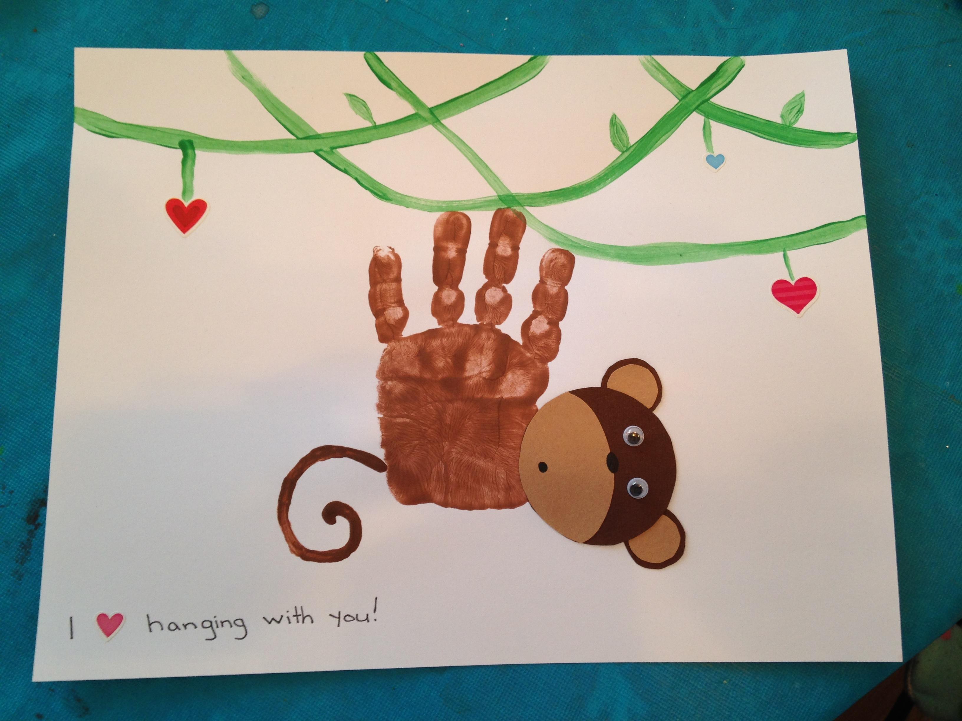 Hand Print Monkey Valentine S Day Craft