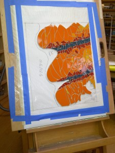 Orange mosaic wall mural work-in-progress by Lynn Bridge of Austin, Texas, U.S.A.
