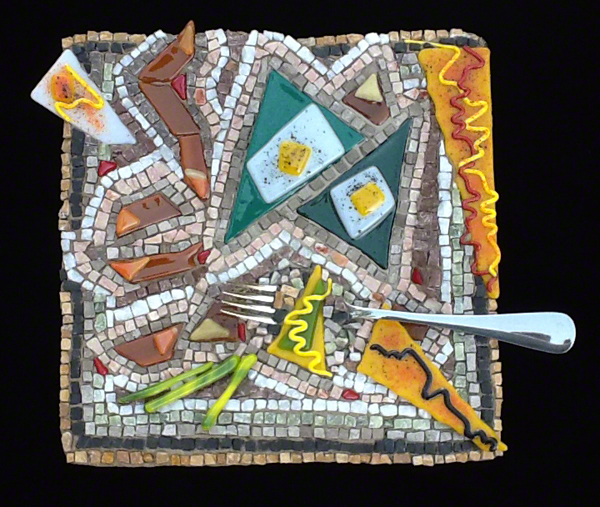 stone and fused glass mosaic plate by Austin Texas mosaic artist, Lynn Bridge