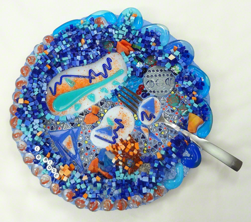 blue and orange mosaic plate made by Lynn Bridge, Austin, Texas mosaic artist