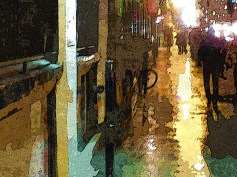 evening rain city streets Montreal