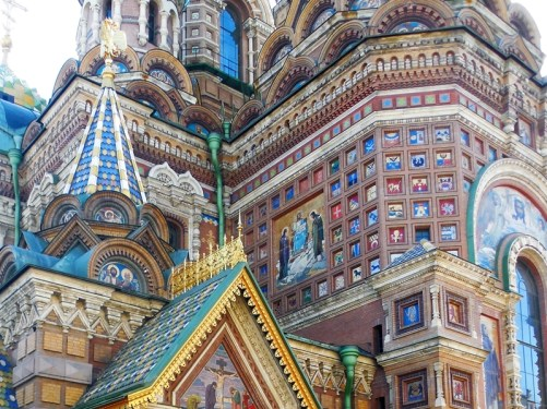 architexture detail and mosaics church in Russia
