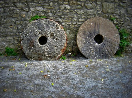 Mill stones at Carew Castle, Wales