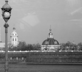 black and white architecture and lamp in St Petersburg Russia