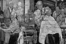 black and white wall mural barbershop