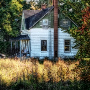house and field in fall