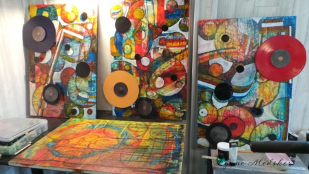 Work in progress, three original pieces nearby for reference © Lynne Medsker