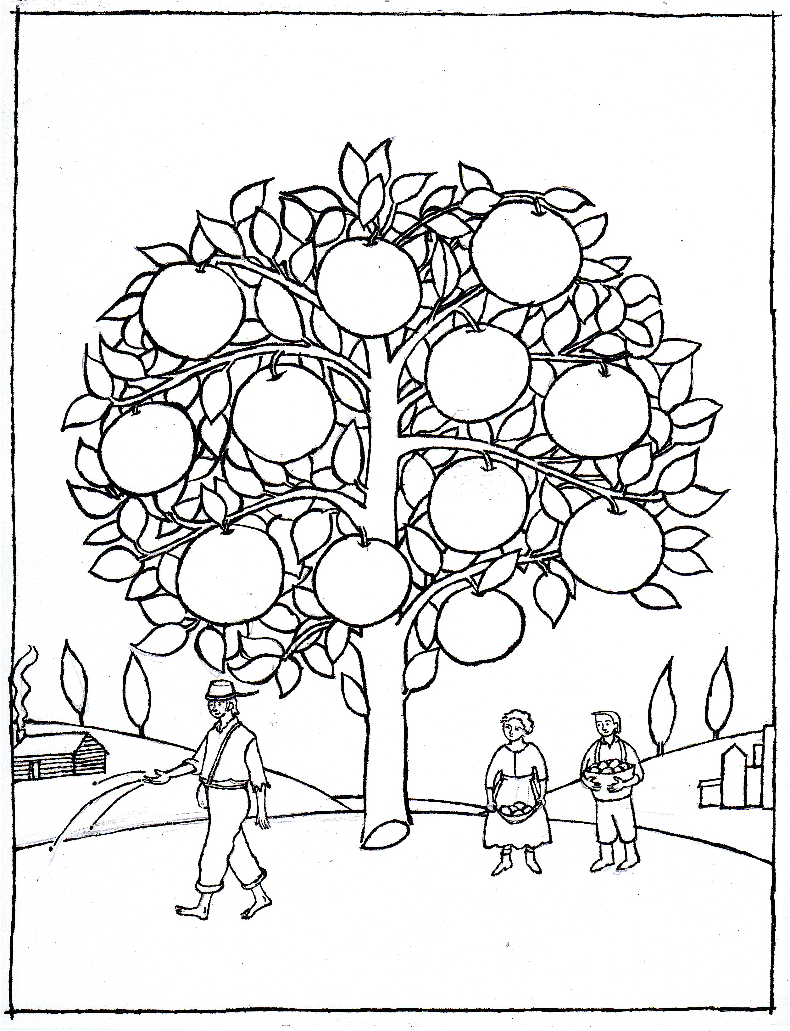 Johnny Appleseed Coloring Page