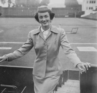 Lynne as Seals Stadium usherette in day uniform