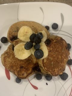 Fluffy Blueberry Banana and Peanut Butter pancakes