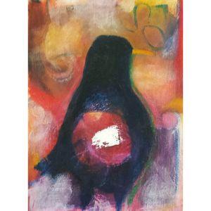 Abstract black bird contemporary art by Lynn Farwell
