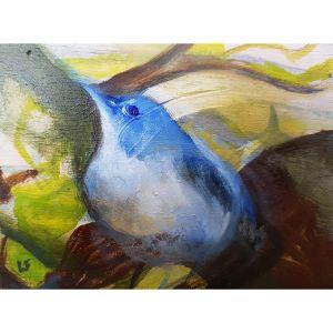 Blue bird in nest contemporary art by Lynn Farwell