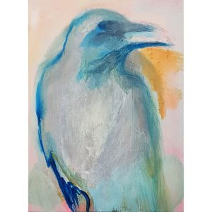 Crow painting contemporary art by Lynn Farwell
