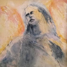Mixed media angel contemporary art by Lynn Farwell