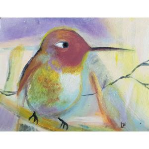 Green purple hummingbird contemporary art by Lynn Farwell