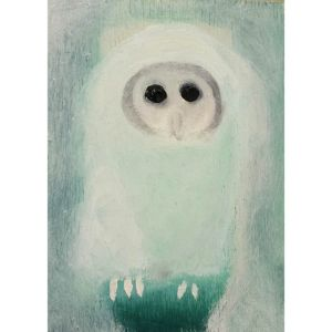 white baby owl contemporary art by Lynn Farwell