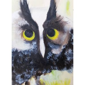 Owl with yellow eyes contemporary art by Lynn Farwell
