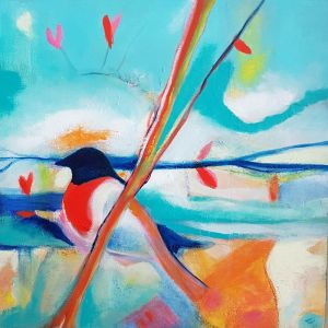 Turqoise black orange bird contemporary art by Lynn Farwell