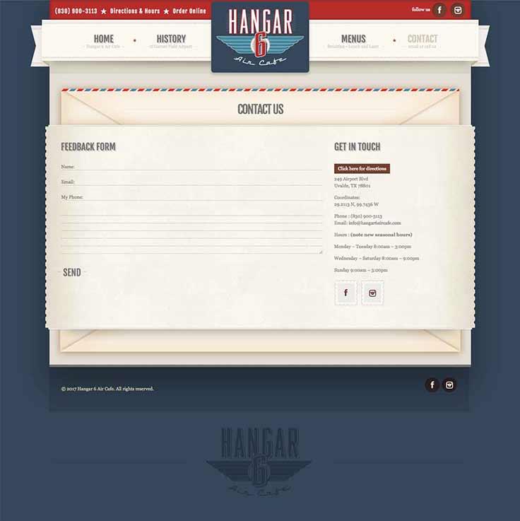 Hangar 6 Air Cafe website contact page