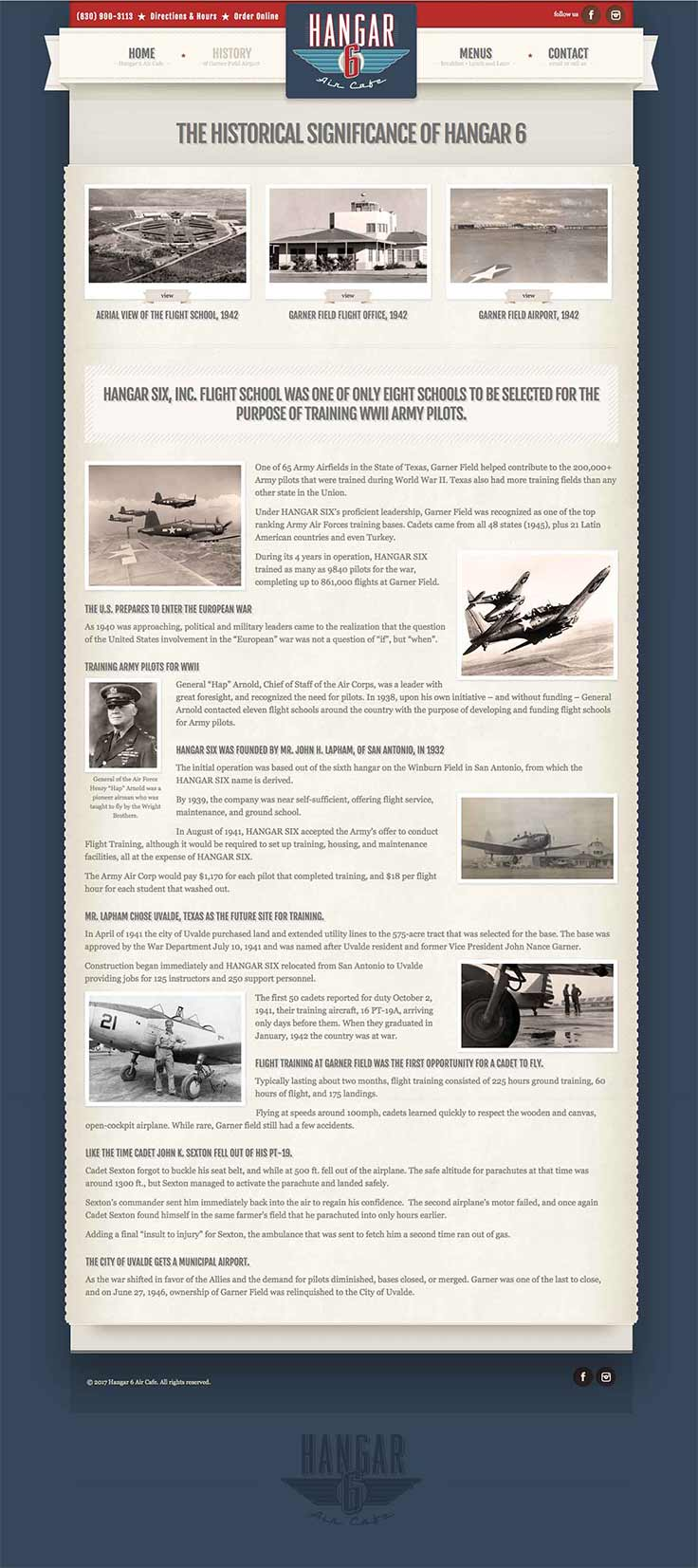 Hangar 6 Air Cafe website history page