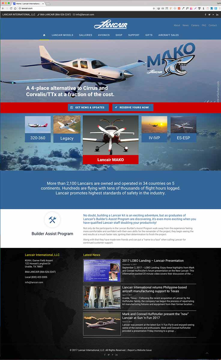 Lancair International website screenshot
