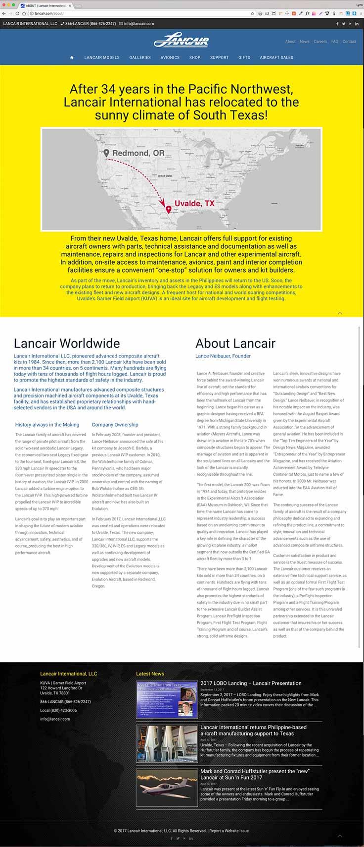 Lancair International website screenshot