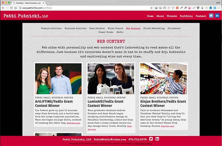Patti Putnicki website screenshot