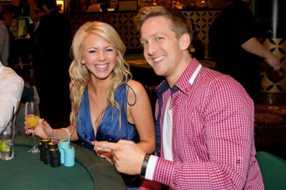 Lynn Gilmartin and Aaron McCarthy playing the EJ Whitten Charity Poker Tournament