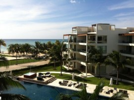 One of the many beautiful apartment buildings in Playa del Carmen, Mexico