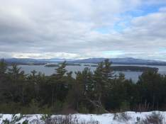 Out in the bare spot of The Glade, Ossipee Mountains across the lake on the right